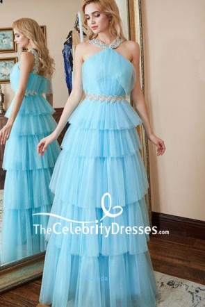 Sky Blue Beaded Wedding Bridal Dress