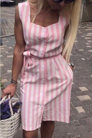 Casual Striped Sleeveless Sashes Dress