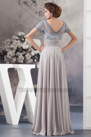 Silver A-Line Square Neckline Formal Gown Prom Dress