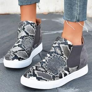 Snakeskin Print Flat Heel Shoes