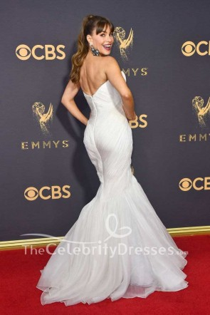 Sofía Vergara White Strapless Tulle Mermaid Evening Gown Dress 2017 Emmy Awards Red Carpet TCD7517