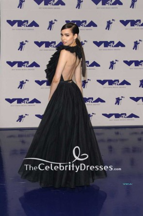 Sofia Carson Black Backless Halter Ball Gown Dress 2017 MTV Video Music Awards TCD7482