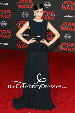Sofia Carson Black Cut Out Evening Dress Premiere of Star Wars The Last Jedi Red Carpet