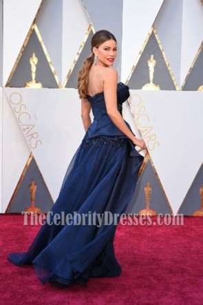 Sofia Vergara Dark Navy Strapless Beadings Evening Prom Gown 88th Annual Academy Awards TCD6983