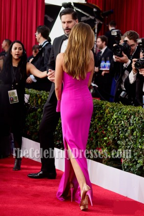 Sofia Vergara Fuchsia Strapless Slit Evening Prom Gown  2016 SAG Awards TCD7129