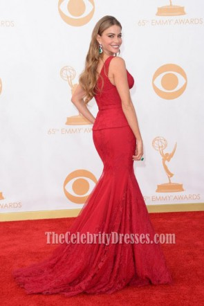 Sofia Vergara Red Mermaid Formal Dress 2013 Emmy Awards