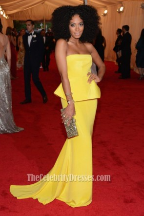Solange Knowles Yellow Evening Dress MET Ball 2012 Red Carpet