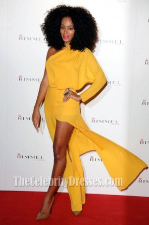 Solange Knowles Yellow Evening Dress Rimmel Celebrates 10 Year Partnership With Kate Moss