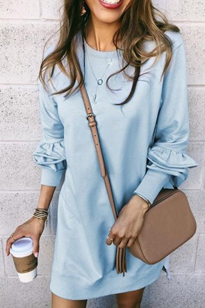 Printed Lace-up Shirt Dress