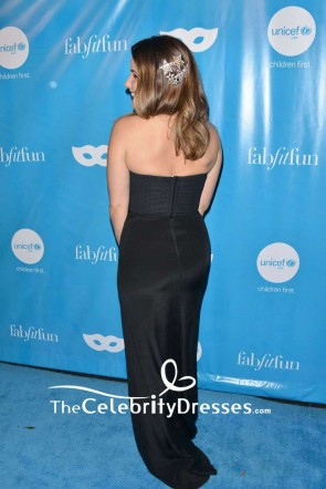 Sophia Bush Black Strapless Backless Evening Gown UNICEF Next Generation Masquerade Ball TCD7563