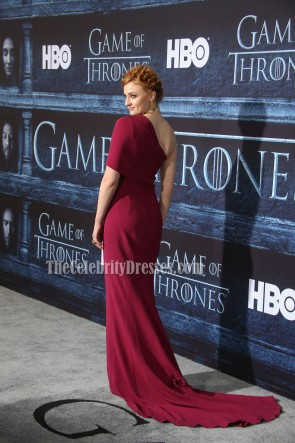 Sophie Turner Plum-colored One Shoulder Evening Prom Gown 'Game of Thrones' Season 6 Premiere TCD6764