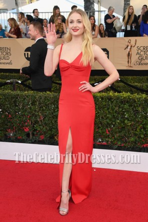 Sophie Turner Red Form-Fitting Slit Evening Prom Gown 2017 SAG Awards Dresses TCD7135