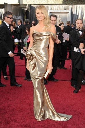 Stacy Keibler Gold Prom Evening Dress 2012 Oscar Awards Red Carpet TCD2428
