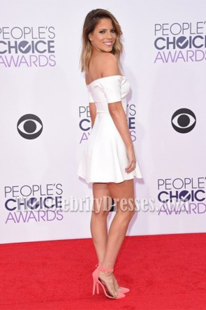 Stephanie Bauer White Off-the-Shoulder Mini Dress 2015 People's Choice Awards TCD7204