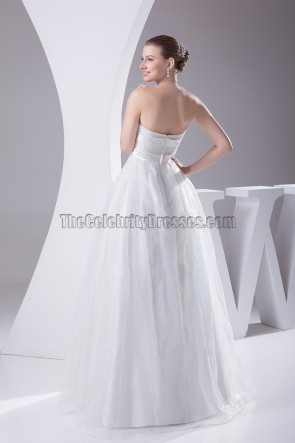 Strapless A-Line Floor Length Wedding Dress With Beading