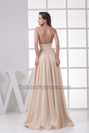 Strapless Champagne Prom Dress Evening Formal Gown
