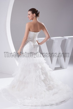 Beaded Strapless Mermaid Wedding Dress Bridal Gown