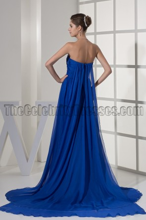 Strapless Royal Blue A-Line Chiffon Formal Dress Evening Gown