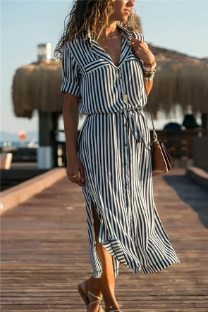 Striped Button Through Slit Dress