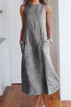 Striped Scoop Sleeveless Dress