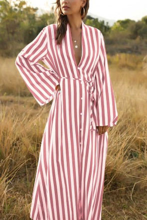 Loose Striped Single Breasted Shirt Dress