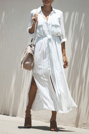 Striped Slit Lace-up Shirt Dress