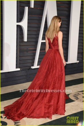 Suki Waterhouse Red A-Line Formal Dress 2015 Oscars Red Carpet TCD6046