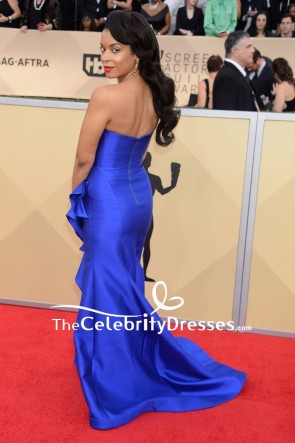 Susan Kelechi Watson Royal Blue Strapless Ruffled Evening Dress 2018 SAG Awards Red Carpet TCD7691
