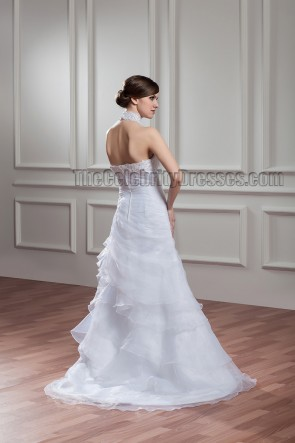 Sweep/Brush Train Halter Beaded Wedding Dress Bridal Gown