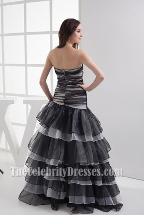 White And Black Sweetheart A-Line Prom Gown Evening Dress