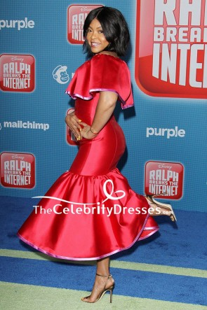 Taraji P. Henson Red Off-the-shoulder Cocktail Dress Premiere Of Ralph Breaks the Internet TCD8152