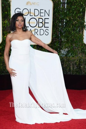 Taraji Henson Golden Globes 2016 White  Long Train Evening Prom Gown Red Carpet Formal Dress 1