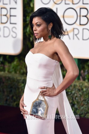 Taraji Henson Golden Globes 2016 White Long Evening Prom Gown Red Carpet Formal Dress TCD6707