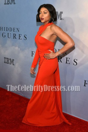 Taraji P. Henson Red Asymmetric One-Sleeve Evening Dress Hidden Figures Screening TCD7081