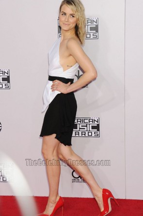 Taylor Schilling White And Black Cocktail Dress 2014 American Music Awards Party Dress TCD6685