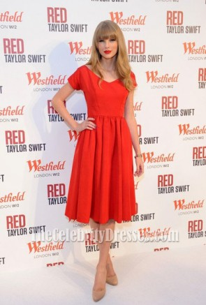 Taylor Swift Dresses Red Skirts Cocktail Dress performs Westfield Shopping Centre