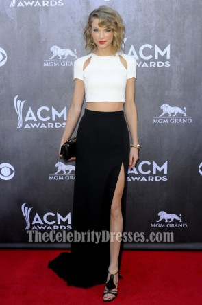 Taylor Swift Ivory And Black Formal Dress 2014 ACM Awards Red Carpet