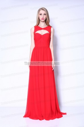 Odette Yustman Hot Red Chiffon Evening Formal Dress 2011 Oscars