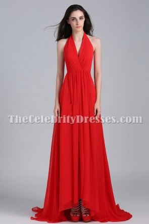 Taylor Swift Red Halter Prom Evening Dress Cover of Delta Sky Magazine