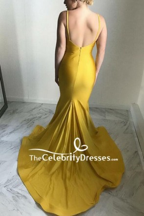 Yellow V-neck Ruffled Spaghetti Straps Mermaid Prom Dress TCDFD8618
