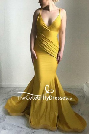 Yellow  V-neck Ruffled Spaghetti Straps Mermaid Prom Dress