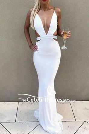 Sexy White Cut Out Deep V-neck Mermaid  Prom Dress