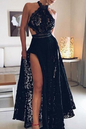Sexy Black Halter Lace A-Line Prom Dress with Slit