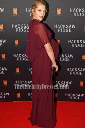 Teresa Palmer Burgundy Maternity Evening Prom Gown Australian Premiere of 'Hacksaw Ridge' TCD6855