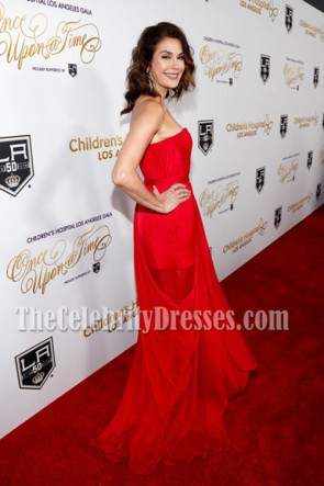 Teri Hatcher Red One-shoulder Red Carpet Evening Prom Gown Once Upon a Time Gala 2016 TCD6851