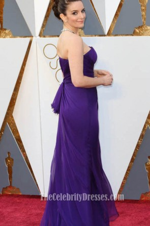 Tina Fey Oscars 2016 Red Carpet Strapless Fashion Purple Evening Prom Gown Formal Dress TCD6705