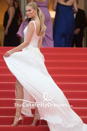 Toni Garrn White Ruffled High Slit Evening Dress 2019 Cannes Film Festival TCD8516
