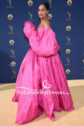 Tracee Ellis Ross Pink Off-the-shoulder Ball Gown Dress 2018 Emmys TCD8055