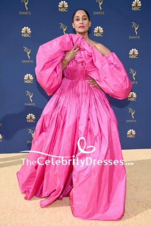 Tracee Ellis Ross Pink Off-the-shoulder Ball Gown Dress 2018 Emmys