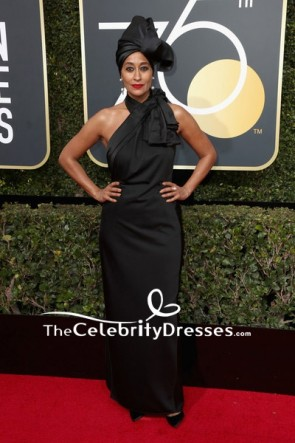 Tracee Ellis Ross Black Halter Backless Evening Prom Dress 2018 Golden Globes Red Carpet